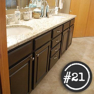 Standard Oak Cabinet Painted Dark Brown, Painting Bathroom Cabinets Dark Brown