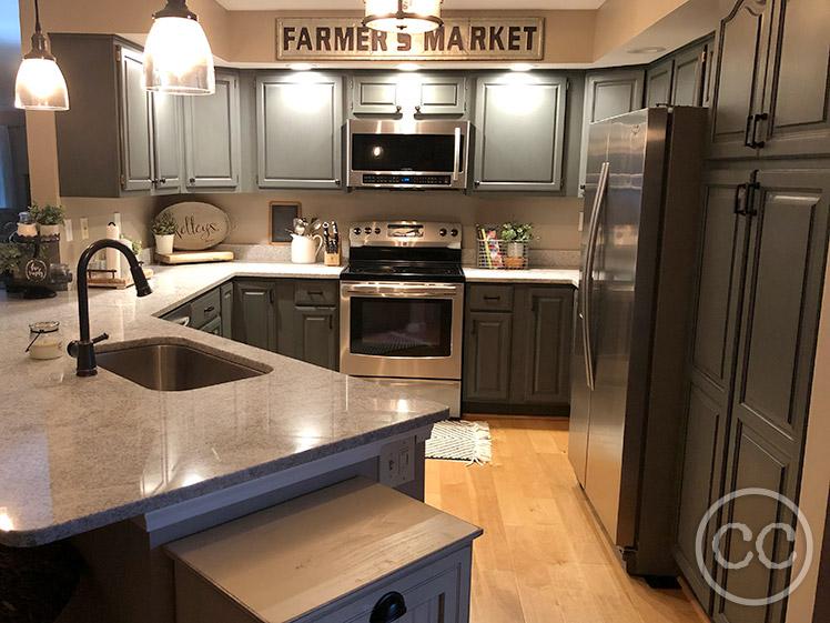Classic Cupboards Paint 43 Golden Oak Cabinets Painted Farmhouse Blue